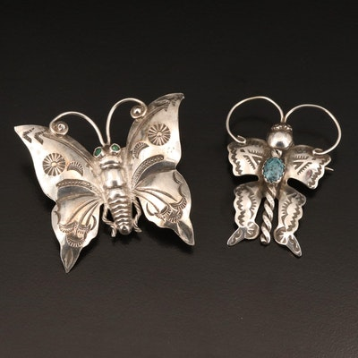 Sterling Butterfly Brooches Including Joe Eby and Turquoise