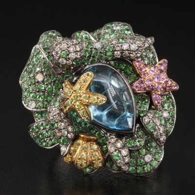 18K Diamond and Gemstone Sea Turtle Ring