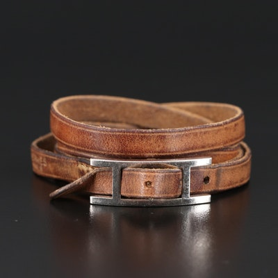 "Hermès ""Behapi Double Tour"" Leather Bracelet"