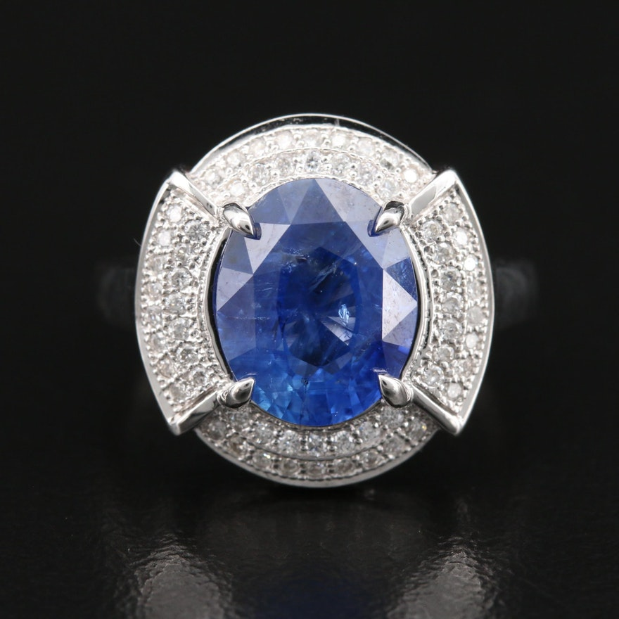 14K 4.17 CT Sapphire and Diamond Ring with GIA Report