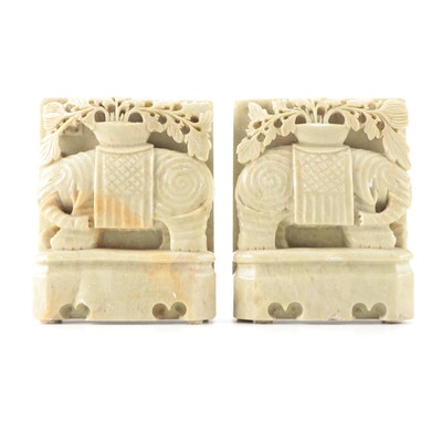 Chinese Carved Soapstone Elephant Bookends