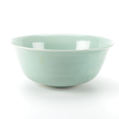 Celadon Glaze Ceramic Centerpiece Bowl