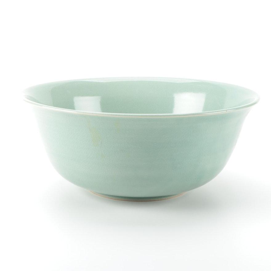 Celadon Glaze Ceramic Centerpiece Bowl