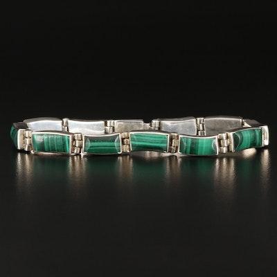 Mexican 950 Silver Rectangular Malachite Link Bracelet