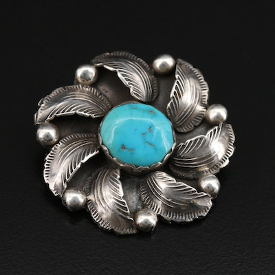 Carmelita and Dan Simplicio Zuni Sterling Turquoise Feather Converter Brooch