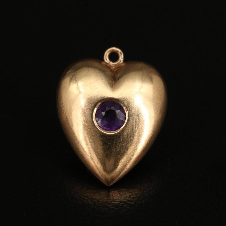 14K Amethyst Puff Heart Pendant