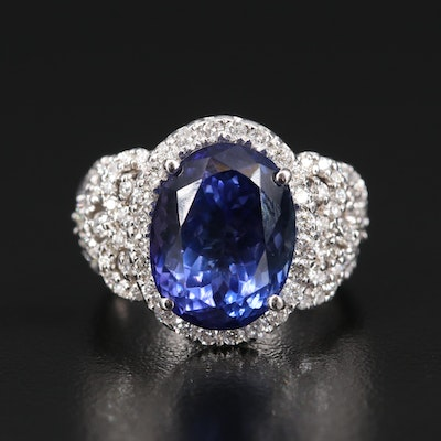 14K 8.45 CT Tanzanite and 1.47 CTW Diamond Ring
