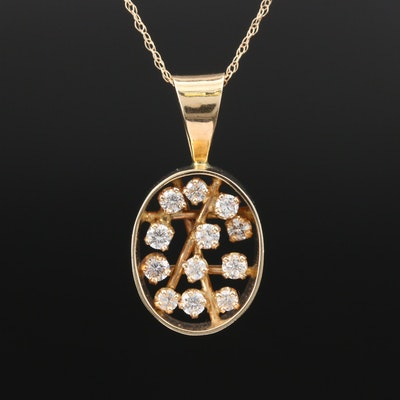 Contemporary 14K Diamond Pendant Necklace