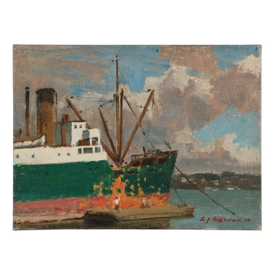Edmond James Fitzgerald Oil Painting of Ship at the Harbor, Mid-20th Century
