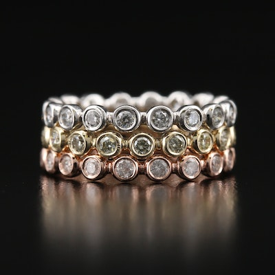 14K Tri-Tone 1.00 CTW Diamond Stackable Eternity Bands