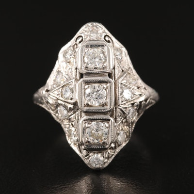 Edwardian Platinum Diamond Ring with 14K Accents
