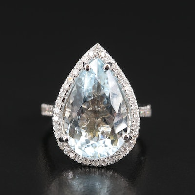18K 7.09 CT Aquamarine and Diamond Halo Ring