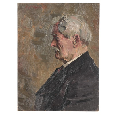 Edmond James Fitzgerald Oil Portrait of Gentleman, Mid-20th Century