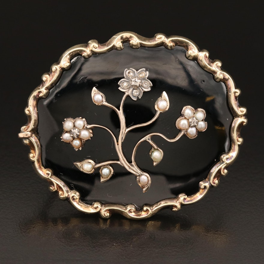 Victorian 14K Diamond, Seed Pearl and Enamel Mourning Brooch