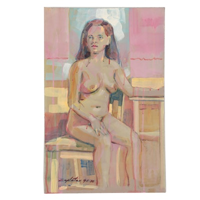Raymond Zaplatar Acrylic Painting of Female Figure, 2020