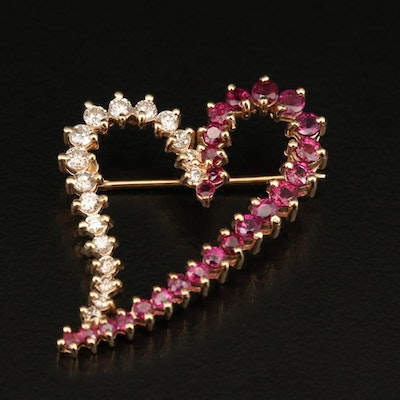 14K Diamond and Ruby Heart Brooch