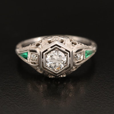 Edwardian 18K Diamond and Green Glass Ring