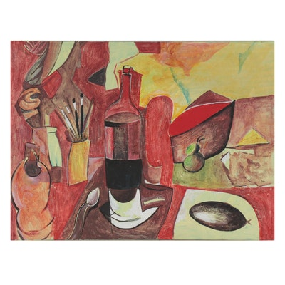 Eduardo Oliva Cubist Style Still Life Acrylic Painting, 1973