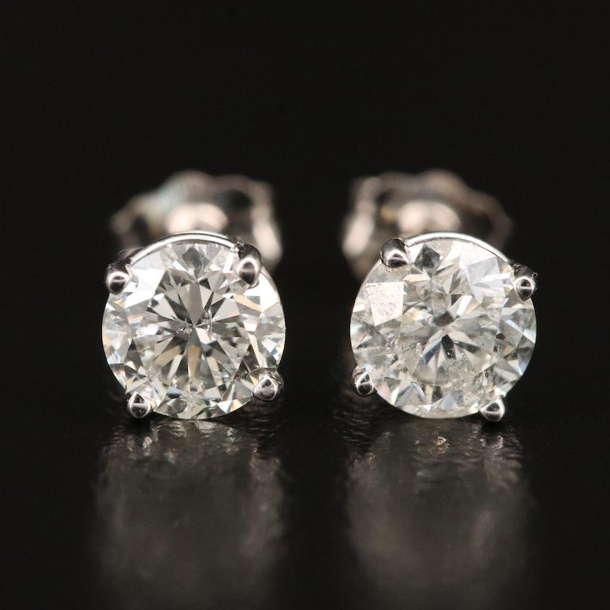 14K 1.38 CTW Diamond Stud Earrings with GIA eReport