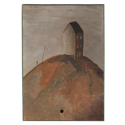 W. Glen Davis Oil Painting of Lone House on a Hill, Mid-Late 20th Century
