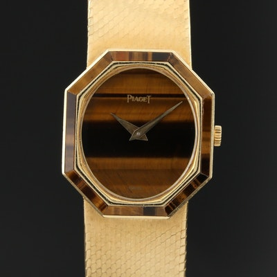 Vintage Piaget Tiger's Eye and 18K Gold Stem Wind Wristwatch