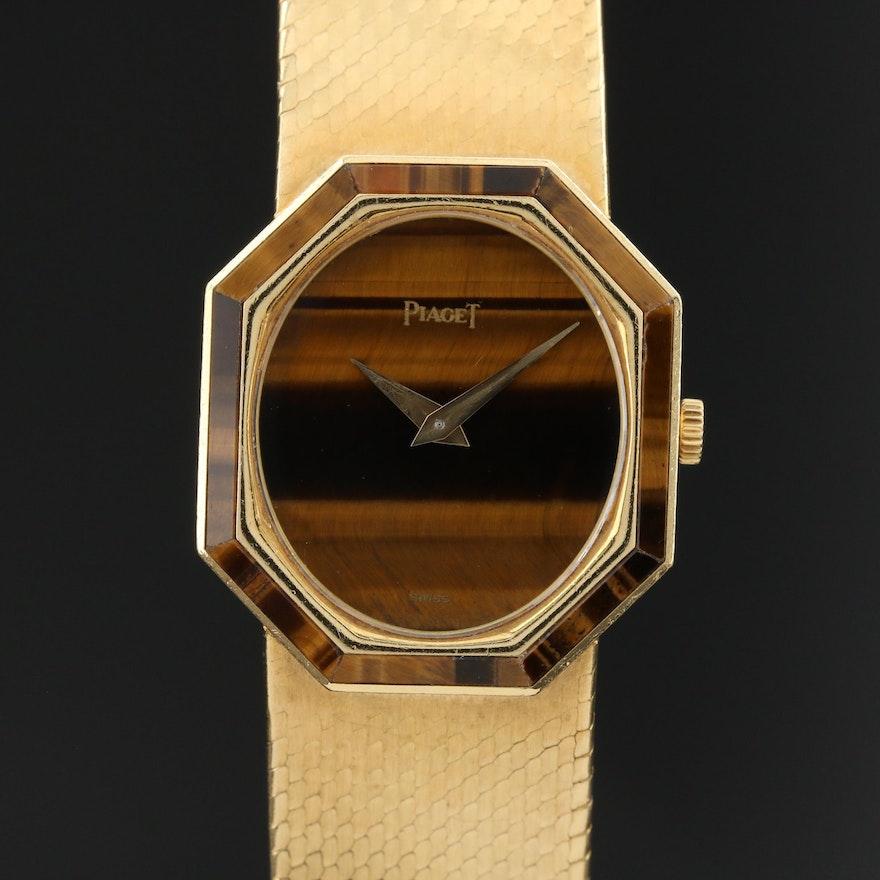 Vintage Piaget Tiger's Eye and 18K Gold Stem Wind Wristwatch