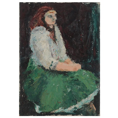 W. Glen Davis Impressionistic Oil Painting of Seated Figure, Mid-20th Century