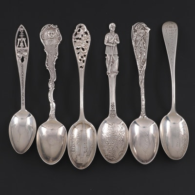Durgin, Charles Robbins, Frank Smith and Other Sterling Silver Souvenir Spoons