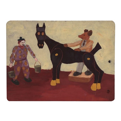 W. Glen Davis Surreal Oil Painting of Clown and Horse, Mid-Late 20th Century