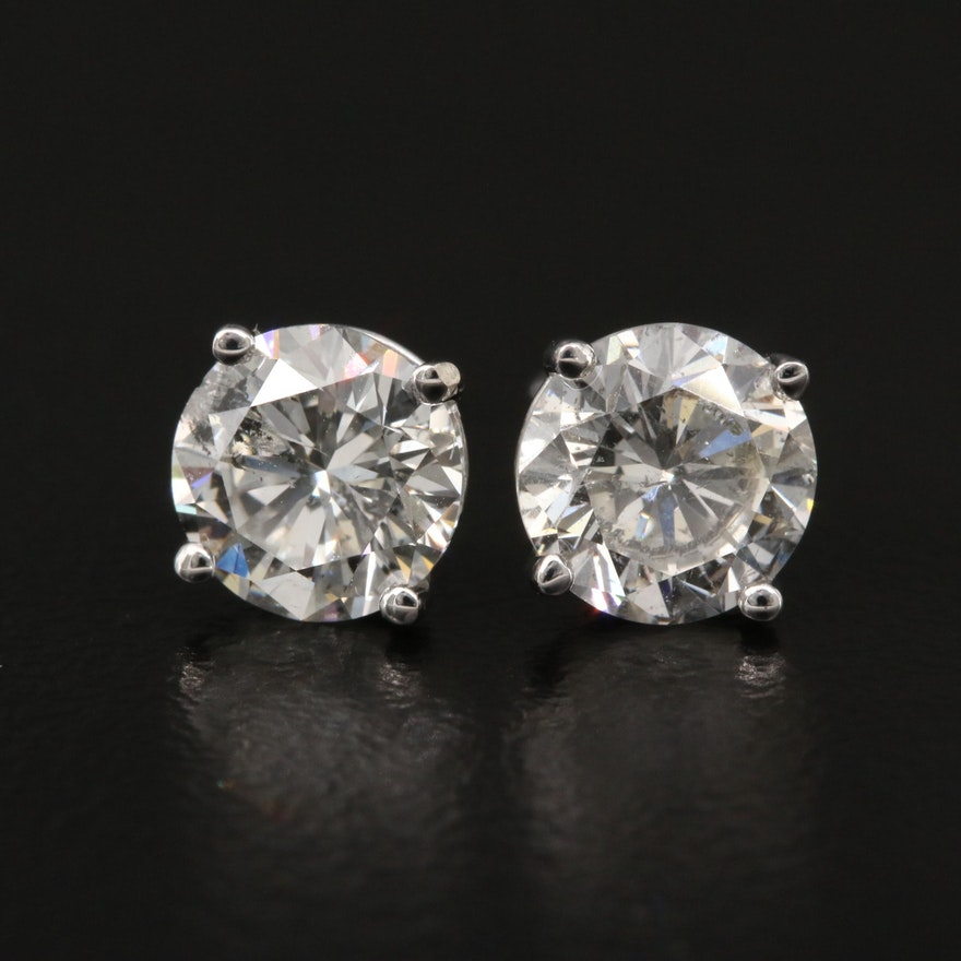 18K 2.07 CTW Diamond Stud Earrings with GIA Online Reports