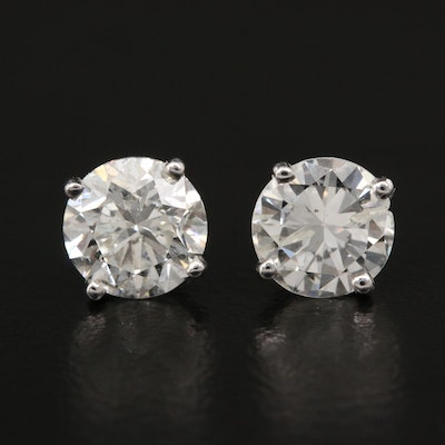 Platinum 2.17 CTW Diamond Stud Earrings with GIA eReports