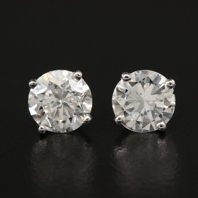Platinum 2.17 CTW Diamond Stud Earrings with GIA eReports