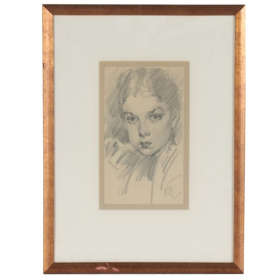Vincent Nesbert Graphite Portrait Drawing of Woman, circa 1950