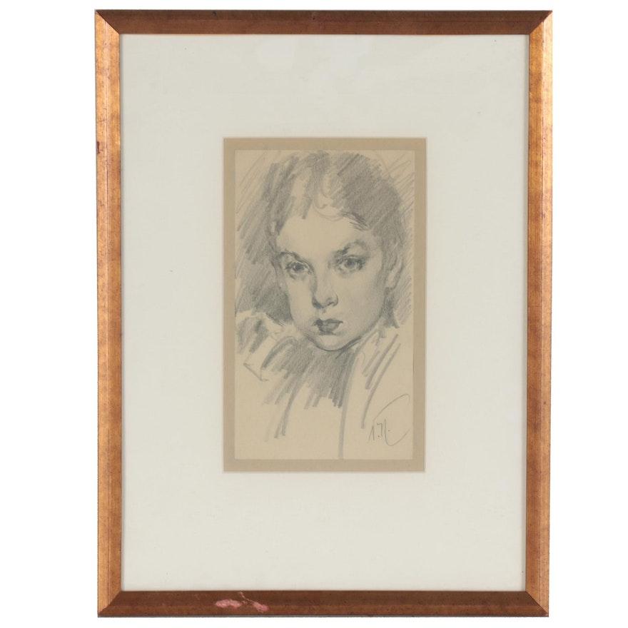 Vincent Nesbert Graphite Portrait Drawing of Woman, circa 1950