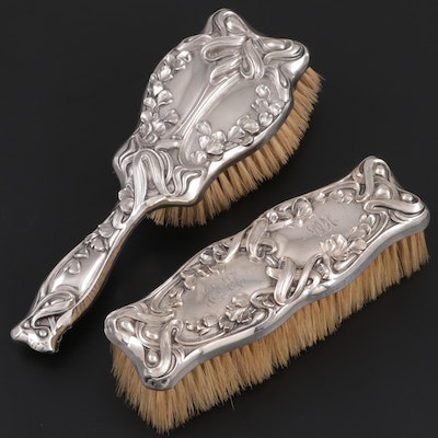 William B. Kerr & Co. Art Nouveau Sterling Silver Hair and Clothes Brushes