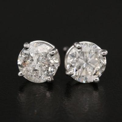 14K 1.42 CTW Diamond Stud Earrings with GIA eReport