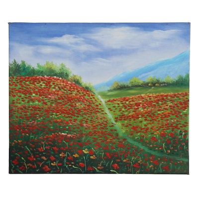 Landscape Oil Painting of a Field of Flowers