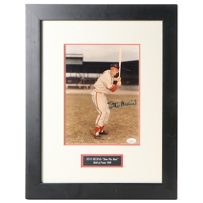 Framed Stan Musial Signed Photo Print with COA