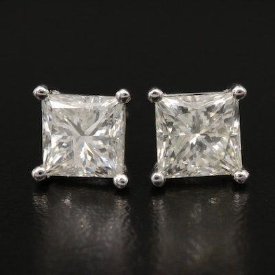 14K 2.98 CTW Diamond Stud Earrings with GIA Report