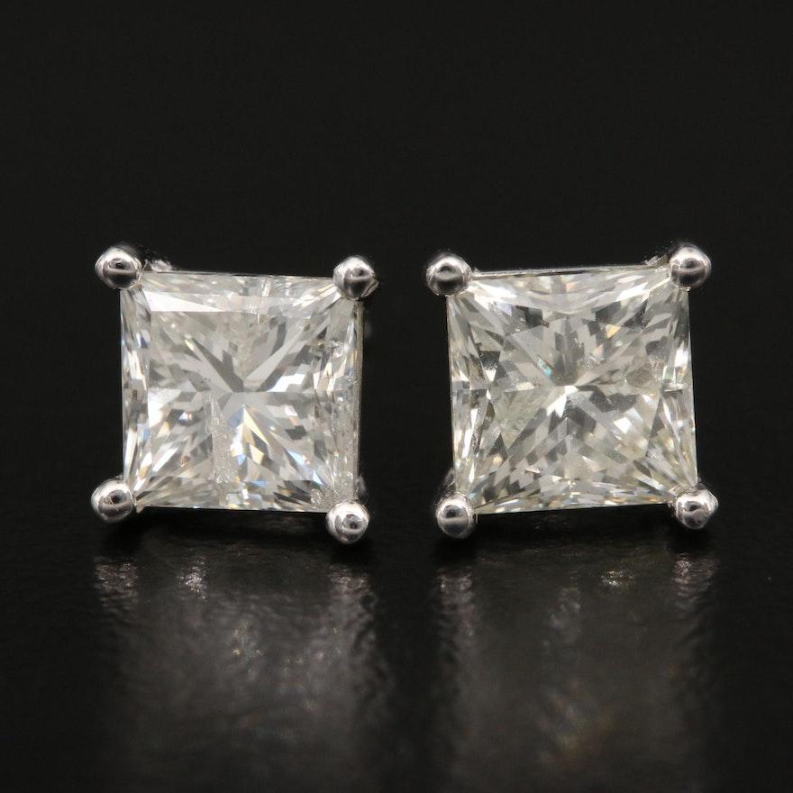 14K 2.98 CTW Diamond Stud Earrings with GIA Report