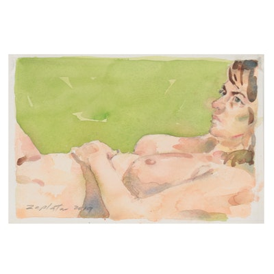 Raymond Zaplatar Double-Sided Watercolor Painting of Female Nude, 2019