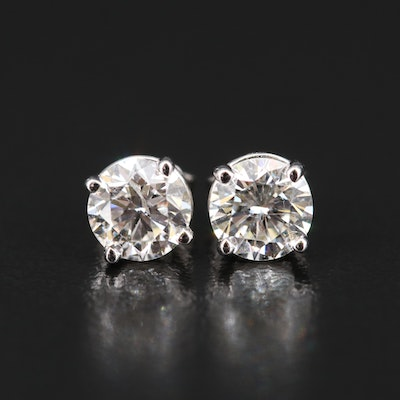 14K 1.15 CTW Diamond Stud Earrings With GIA Reports