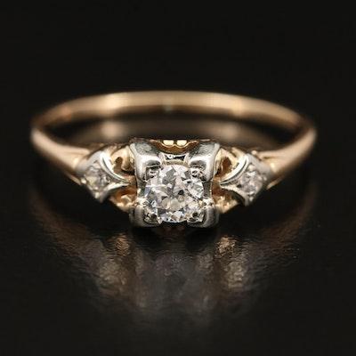 Vintage 14K Diamond Open Gallery Ring