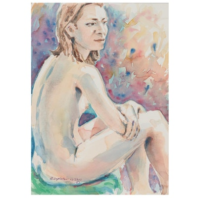 "Raymond Zaplatar Watercolor Painting ""Yelena,"" 2012"