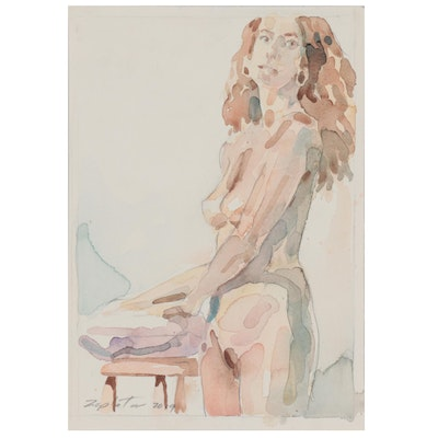 Raymond Zaplatar Double-Sided Watercolor Painting  of Female Figures, 2019