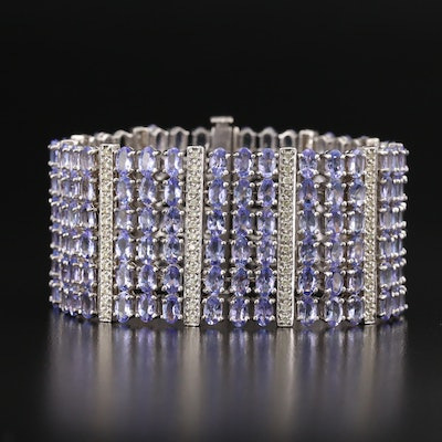 14K Tanzanite and 2.00 CTW Diamond Multi-Row Wide Bracelet