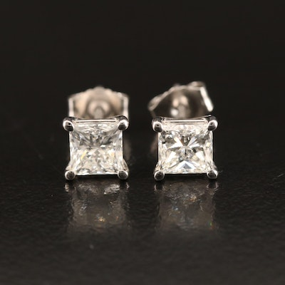 Platinum 1.41 CTW Diamond Stud Earrings with GIA Dossier and Online Reports