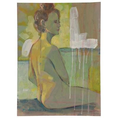 Raymond Zaplatar Acrylic Painting of Female Figure, 2019