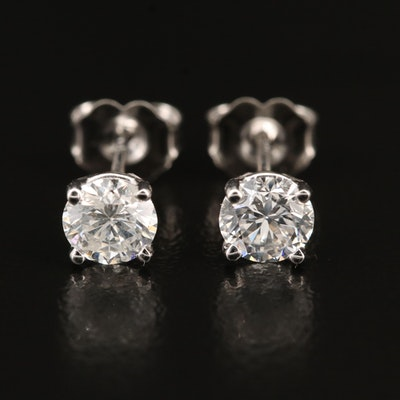 18K 1.12 CTW Diamond Stud Earrings with GIA Online Reports