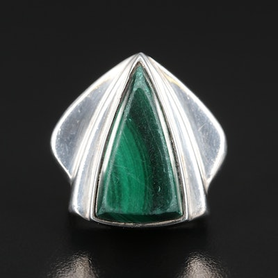 Sterling Silver Malachite Ring with Geometric Flares